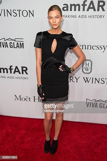 Model Karly Kloss attends the 2016 amfAR New York Gala at Cipriani Wall Street on February 10 2016 in New York City