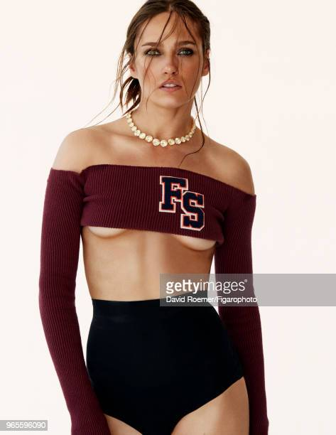 Model Karmen Pedaru poses at a fashion shoot for Madame Figaro on October 30 2017 in Paris France Necklace by Jacob Co Fenty Puma top by Rihanna...