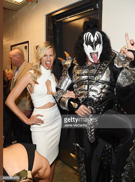 Model Karolina Kurkova and Gene Simmons of KISS attend Fashion Rocks 2014 presented by Three Lions Entertainment at the Barclays Center of Brooklyn...