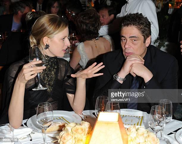 Model Karolina Kurkova and Jury Member actor Benicio del Toro attend the Vanity Fair and Gucci Party Honoring Martin Scorsese during the 63rd Annual...