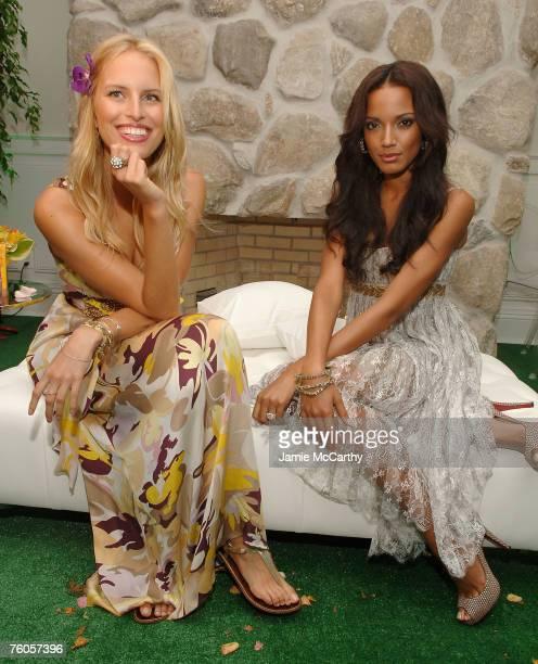 Model Karolina Kurkova and Model Selita Ebanks attend the Victoria's Secret Beauty Secret Garden ReLaunch Event at The Estate on August 10 2007 in...