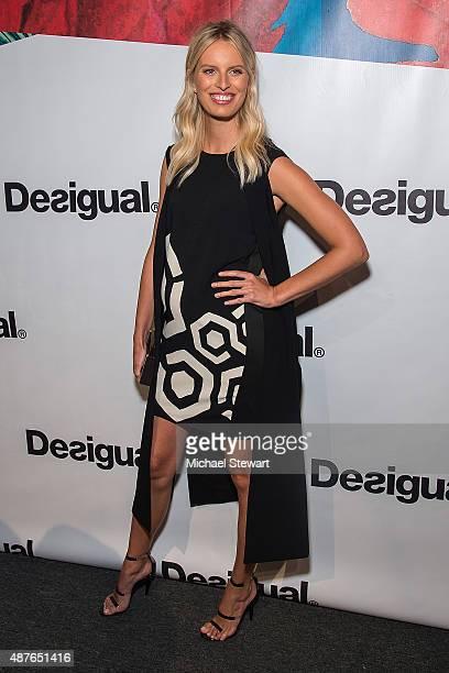 Model Karolina Kurkova attends the Desigual fashion show during Spring 2016 New York Fashion Week at The Arc, Skylight at Moynihan Station on...