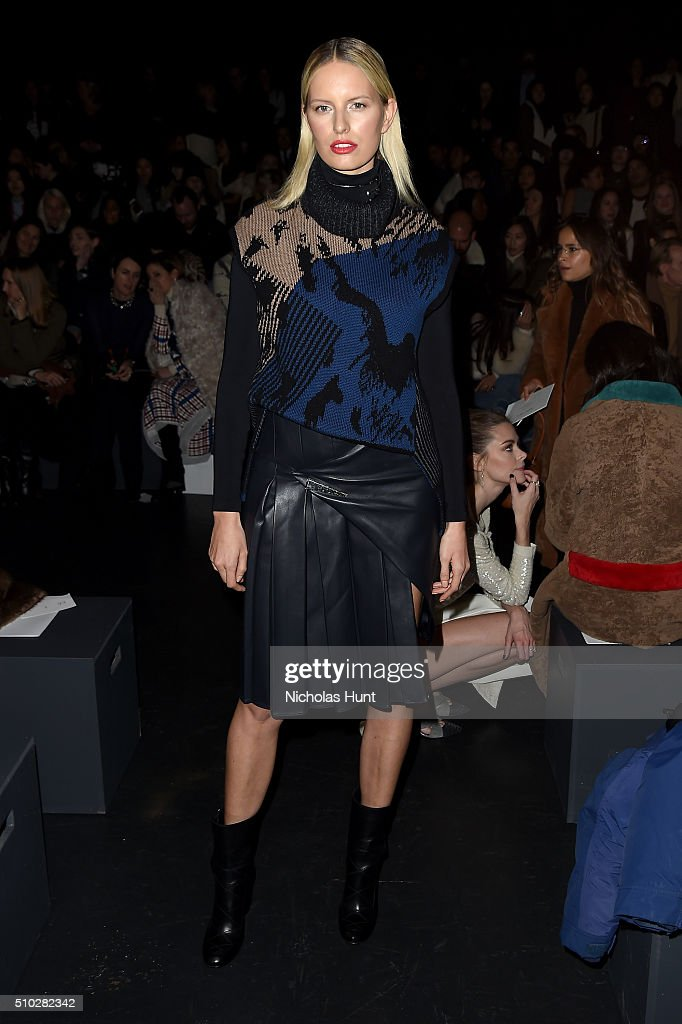 Model Karolina Kurkova attends the Prabal Gurung Fall 2016 fashion show during New York Fashion Week: The Shows at The Arc, Skylight at Moynihan Station on February 14, 2016 in New York City.