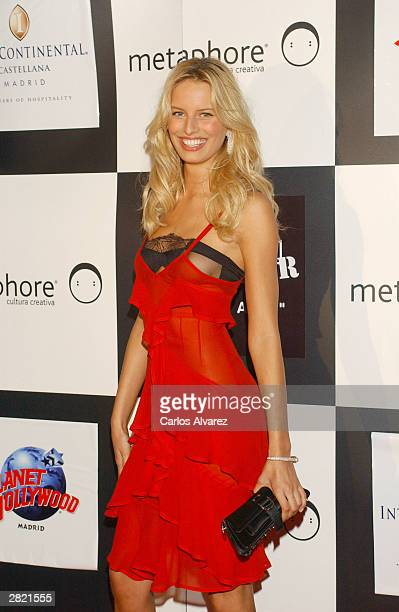 Model Karolina Kurkova hosts the first anniversary of Metaphore Magazine on December 18 2003 at Planet Hollywood in Madrid Spain