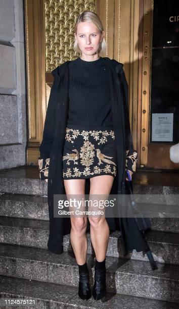 Model Karolina Kurkova is seen leaving the Oscar De La Renta fashion show at the Cunard Building during New York Fashion Week on February 12, 2019 in...