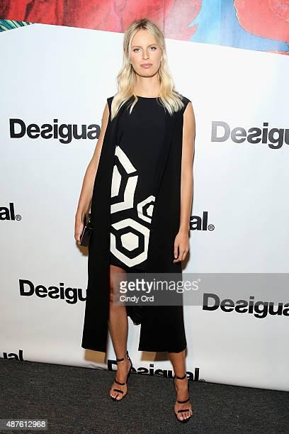Model Karolina Kurkova poses backstage at the Desigual fashion show during Spring 2016 New York Fashion Week The Shows at The Arc Skylight at...