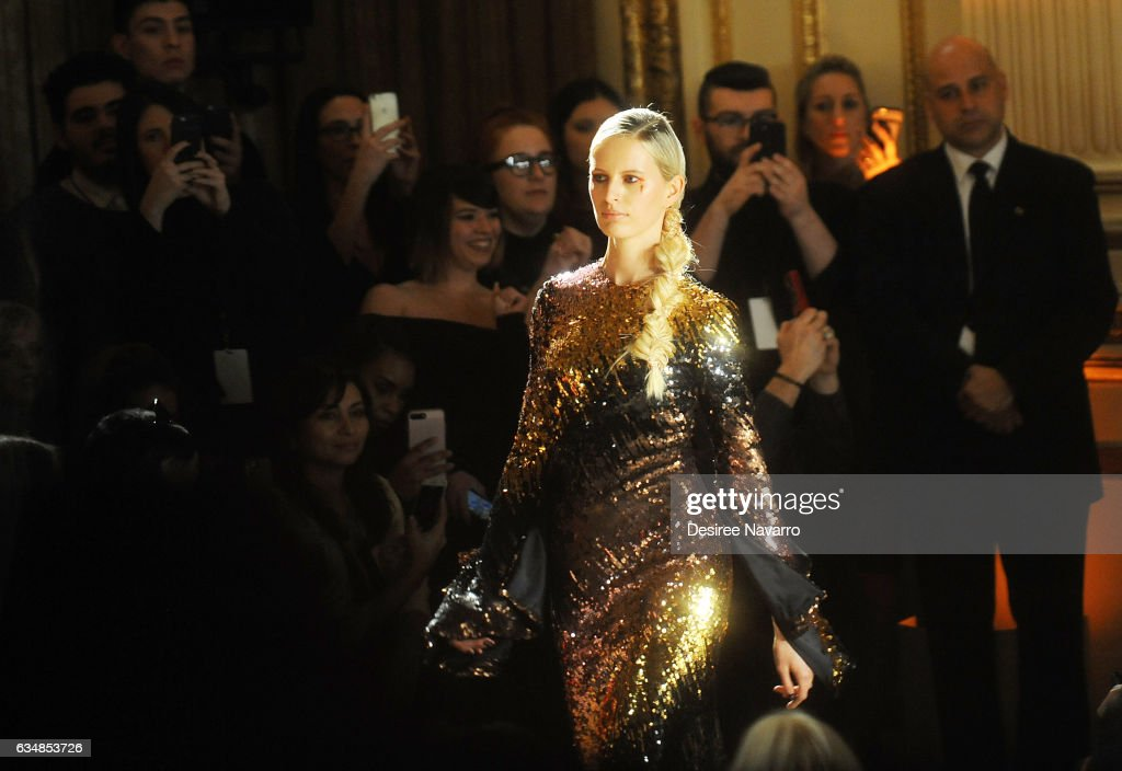 Model Karolina Kurkoval walks the runway at the Christian Siriano show during, New York Fashion Week: The Shows at The Plaza Hotel on February 11, 2017 in New York City.
