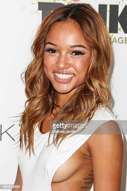 Model Karrueche Tran arrives at the Free The Nipple fundraiser at SkyBar at the Mondrian Los Angeles on June 19 2014 in West Hollywood California