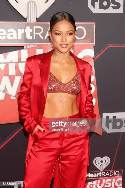 Model Karrueche Tran attends the 2017 iHeartRadio Music Awards which broadcast live on Turner's TBS TNT and truTV at The Forum on March 5 2017 in...