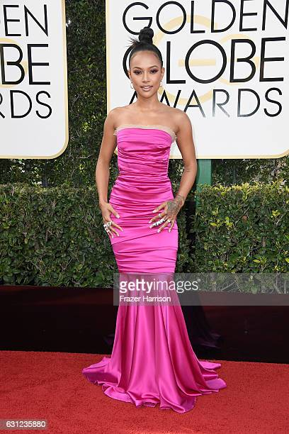 Model Karrueche Tran attends the 74th Annual Golden Globe Awards at The Beverly Hilton Hotel on January 8 2017 in Beverly Hills California
