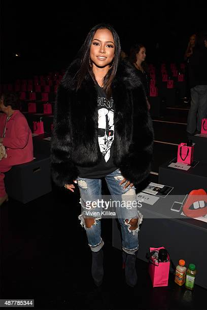Model Karrueche Tran attends the Betsey Johnson fashion show during Spring 2016 New York Fashion Week The Shows at The Arc Skylight at Moynihan...