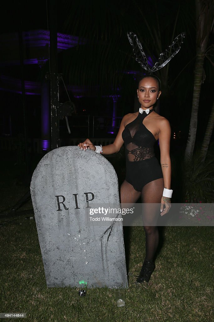 Model Karrueche Tran attends the Maxim Halloween Party Presented By Karma International on October 24, 2015 in Los Angeles, California.