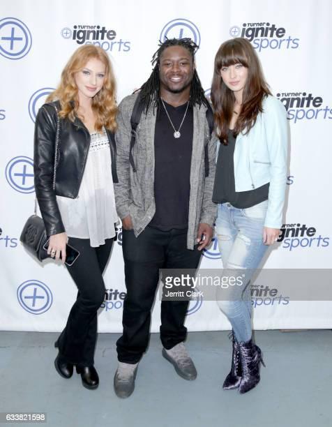 Model Kassidi Foy NFL player Eddie Lacy and model Maegan Valenta attend Turner Ignite Sports Luxury Lounge on February 4 2017 in Houston Texas