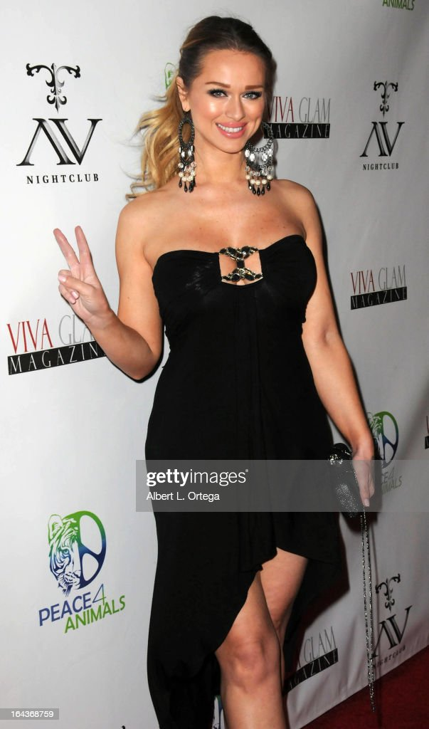 Model Katarina Van Derham arrives for the Celebration of the Viva Glam Magazine Launch April Issue featuring Katie Cleary to benefit Animals 4 Peace at AV on March 22, 2013 in Hollywood, California.