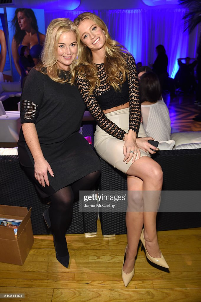 Model Kate Bock and Sports Illustrated editor, MJ Day pose together at the Sports Illustrated Swimsuit 2016 - Swim City at the Altman Building on February 15, 2016 in New York City.
