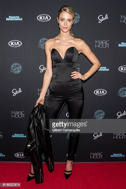 Model Kate Bock attends the 2018 Sports Illustrated Swimsuit Issue Launch Celebration at Magic Hour at Moxy Times Square on February 14 2018 in New...