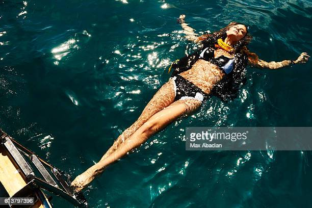 Model Kate Bock is photographed for a sexy scuba fashion editorial Elle Quebec on October 30 2015 in Tulum Mexico Published Image
