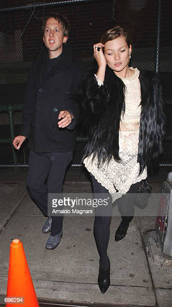 Model Kate Moss and boyfriend Jefferson Hack leave the Marc Jacobs fashion show February 11 2002 in New York City