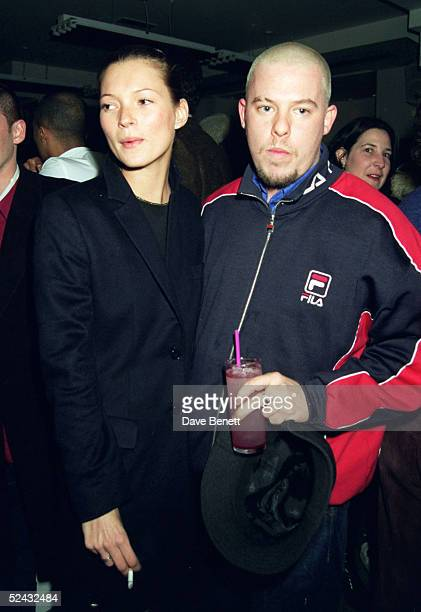 Model Kate Moss and fashion designer Alexander McQueen at a party to launch the new Italian fashion label 'Mandarina Duck' held at artist Damien...