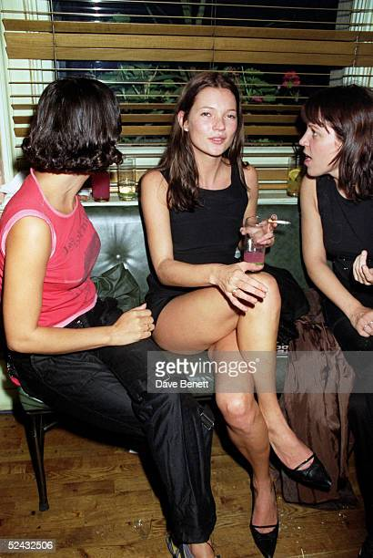 Model Kate Moss and guests at 'Steve Coogan: The Man Who Thinks He's It' first night party held on September 29, 1998 in London. .