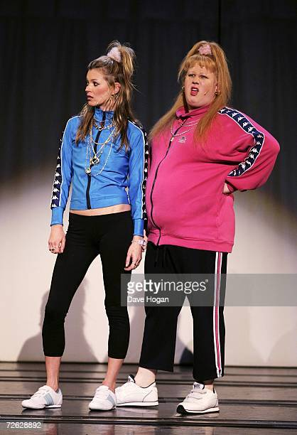 Model Kate Moss and Matt Lucas as the Pollard sisters Katie and Vicky perform onstage at Little Britain's Big Night charity gala performance in aid...