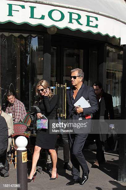 Model Kate Moss and photographer Mario Testino are seen leaving the 'Cafe de Flore' on October 1 2012 in Paris France
