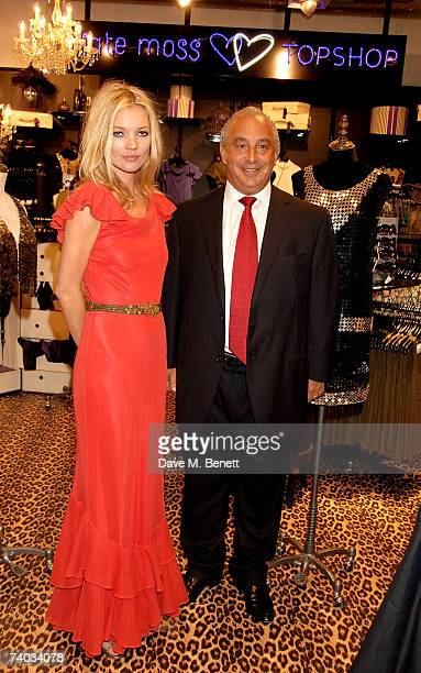 Model Kate Moss and Sir Phillip Green pose during her launch of her new Topshop clothes range, at Topshop Oxford Circus on April 30, 2007 in London,...