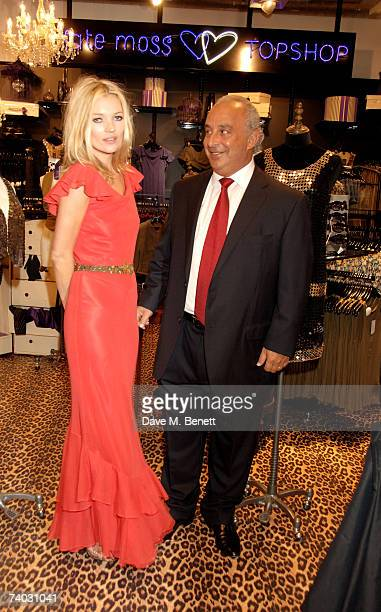 Model Kate Moss and Sir Phillip Green pose during the launch of her new Topshop clothes range, at Topshop Oxford Circus on April 30, 2007 in London,...