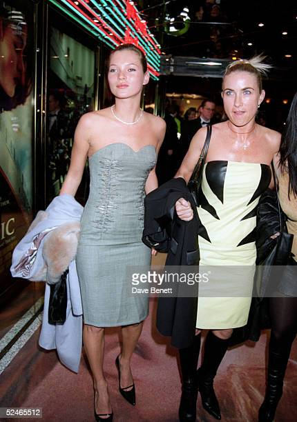 Model Kate Moss and socialite Meg Matthews at the UK premiere of 'Titanic' in Leicester Square on November 18, 1997 in London. .