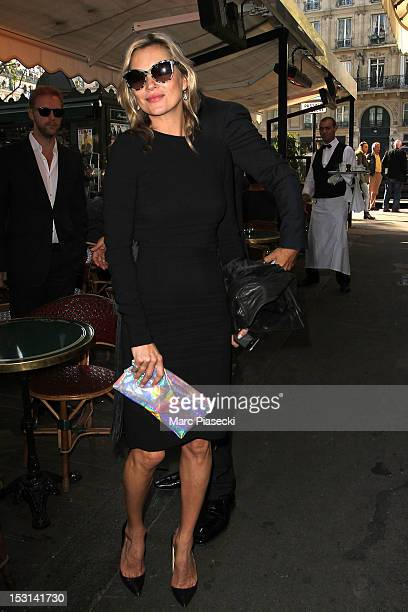 Model Kate Moss arrives at 'Cafe de Flore' on October 1 2012 in Paris France