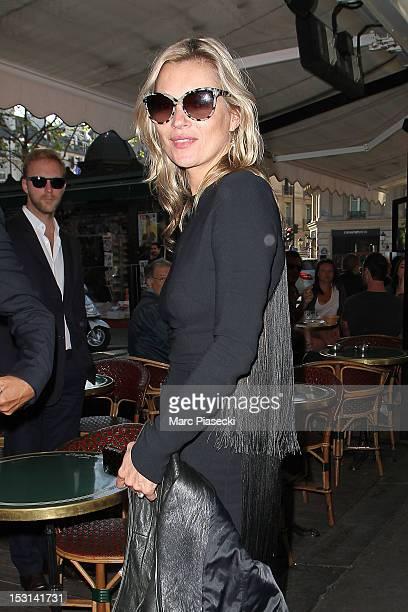 Model Kate Moss arrives at 'Cafe de Flore' on October 1 2012 in Paris France