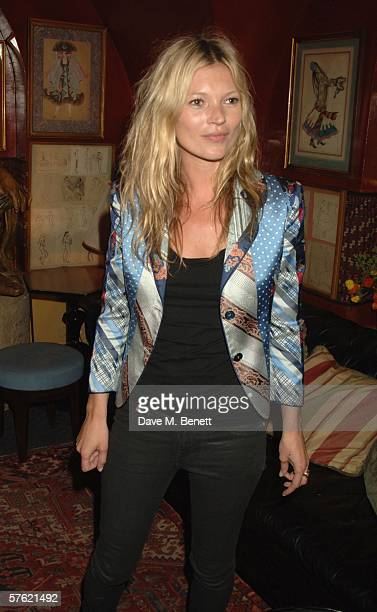 Model Kate Moss attends an exclusive dinner and auction hosted by Bella Freud to benefit the HOPING Foundation at Annabel's Club on May 15 2006 in...