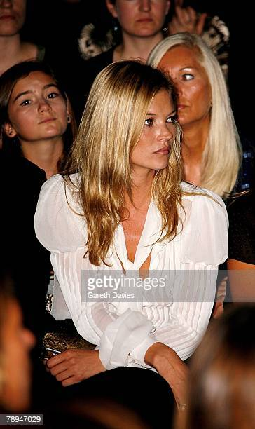 Model Kate Moss attends the 'Fashion for Relief' show in support of the Rotary Flood Disaster Appeal at the Natural History Museum during London...