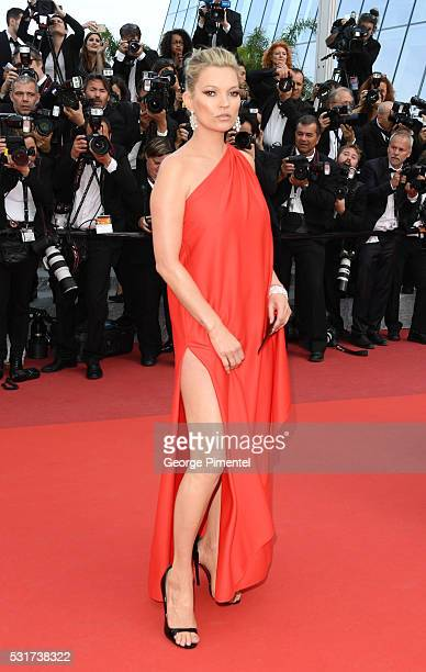 Model Kate Moss attends the 'Loving' Premiere at the annual 69th Cannes Film Festival at Palais des Festivals on May 16 2016 in Cannes France