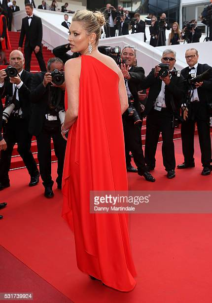 Model Kate Moss attends the 'Loving' premiere during the 69th annual Cannes Film Festival at the Palais des Festivals on May 16 2016 in Cannes France