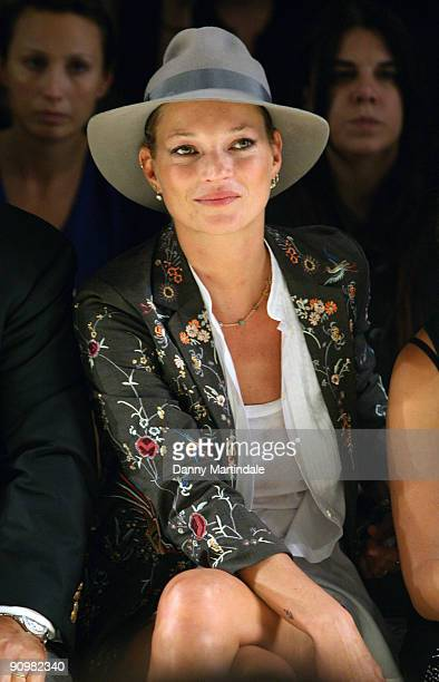 Model Kate Moss attends the Topshop Unique show at London Fashion Week Spring/Summer 2010 - Runway on September 20, 2009 in London, United Kingdom.