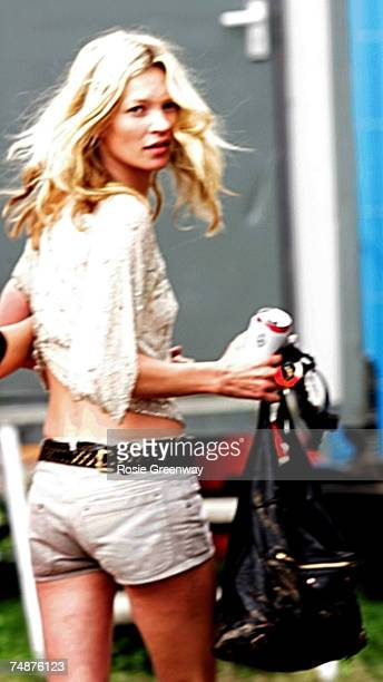 Model Kate Moss is seen backstage of the Park acoustic stage on the third day of the Glastonbury Festival at Worthy Farm, Pilton near Glastonbury, on...