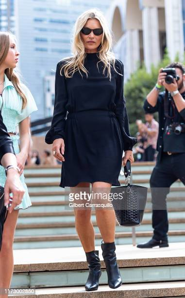 Model Kate Moss is seen leaving Longchamp SS20 Runway Show at Hearst Plaza, Lincoln Center during NYC Fashion Week on September 07, 2019 in New York...