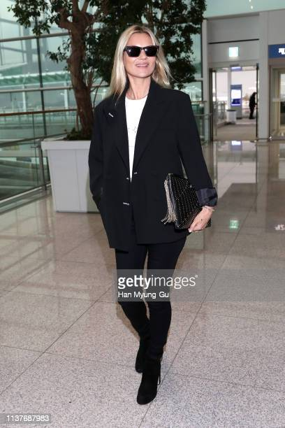 Model Kate Moss is seen on departure at Incheon International Airport on March 23 2019 in Incheon South Korea