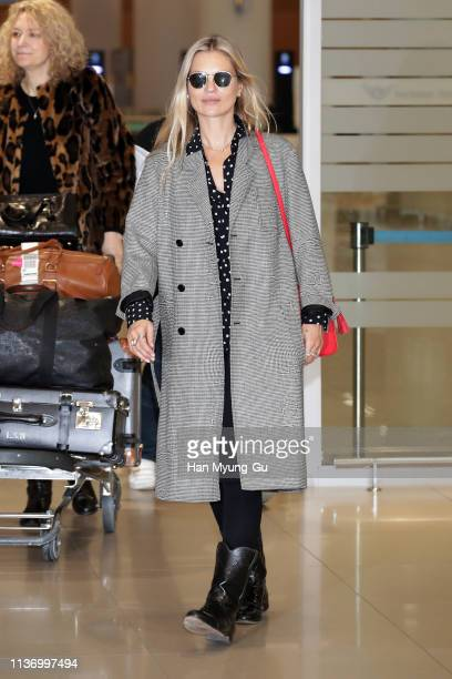 Model Kate Moss is seen upon arrival at Incheon International Airport on March 20 2019 in Incheon South Korea