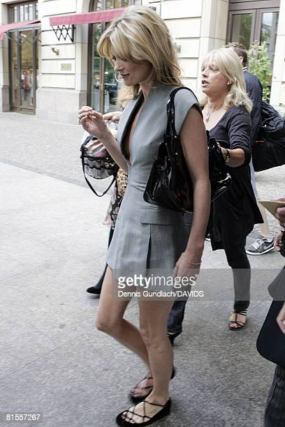 Model Kate Moss leaves the Hotel Adlon on June 12, 2008 in Berlin, Germany. Moss is visiting Berlin to promote her new fragrance 'Velvet Hour'.