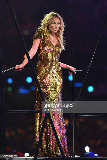 Model Kate Moss performs during the Closing Ceremony on Day 16 of the London 2012 Olympic Games at Olympic Stadium on August 12 2012 in London England