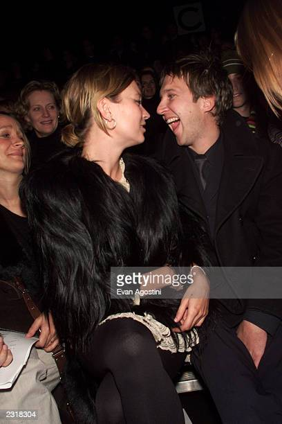 Model Kate Moss with boyfriend Jefferson Hack attending the Marc Jacobs Fall 2002 fashion show at the 26th Street Armory in New York City 2/11/2002...