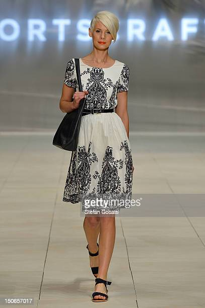 Model Kate Peck showcases designs by Sportscraft on the catwalk as part of the MercedesBenz Fashion Festival Sydney 2012 on August 24 2012 in Sydney...