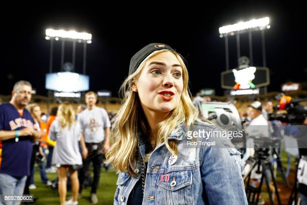 Model Kate Upton a looks on after the Astros defeated the Los Angeles Dodgers in Game 7 of the 2017 World Series at Dodger Stadium on Wednesday...