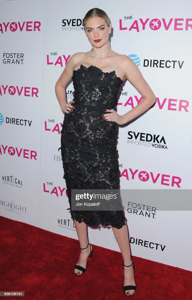 Model Kate Upton arrives at Los Angeles Premiere 'The Layover' at ArcLight Hollywood on August 23, 2017 in Hollywood, California.