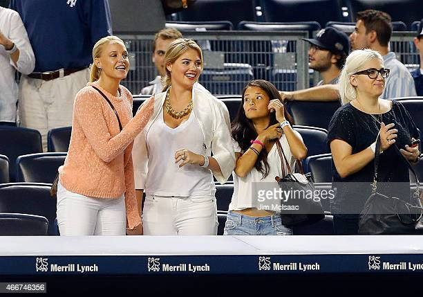 Model Kate Upton attends a game between the New York Yankees and the Detroit Tigers at Yankee Stadium on August 4 2014 in the Bronx borough of New...