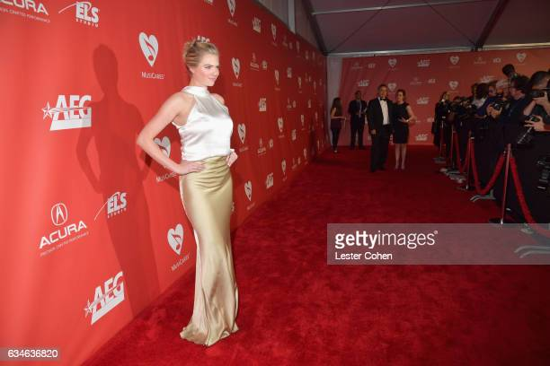 Model Kate Upton attends MusiCares Person of the Year honoring Tom Petty at the Los Angeles Convention Center on February 10 2017 in Los Angeles...