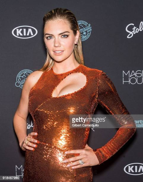 Model Kate Upton attends the 2018 Sports Illustrated Swimsuit Issue Launch Celebration at Magic Hour at Moxy Times Square on February 14 2018 in New...