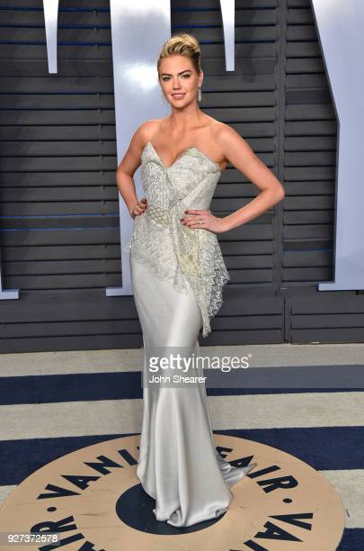 Model Kate Upton attends the 2018 Vanity Fair Oscar Party hosted by Radhika Jones at Wallis Annenberg Center for the Performing Arts on March 4 2018...